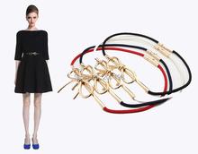 2015 Nova Marca Big Metal Ouro Arco Nó Trecho Fina cintos para as mulheres 5 Color Luxo Ceinture Cinturones Mujer para vestido
