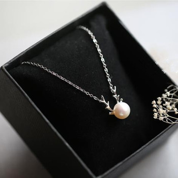 free shipping silver deer horn with pearl necklace for women