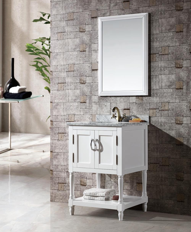 White Solid Wood Bathroom Floor Vanity