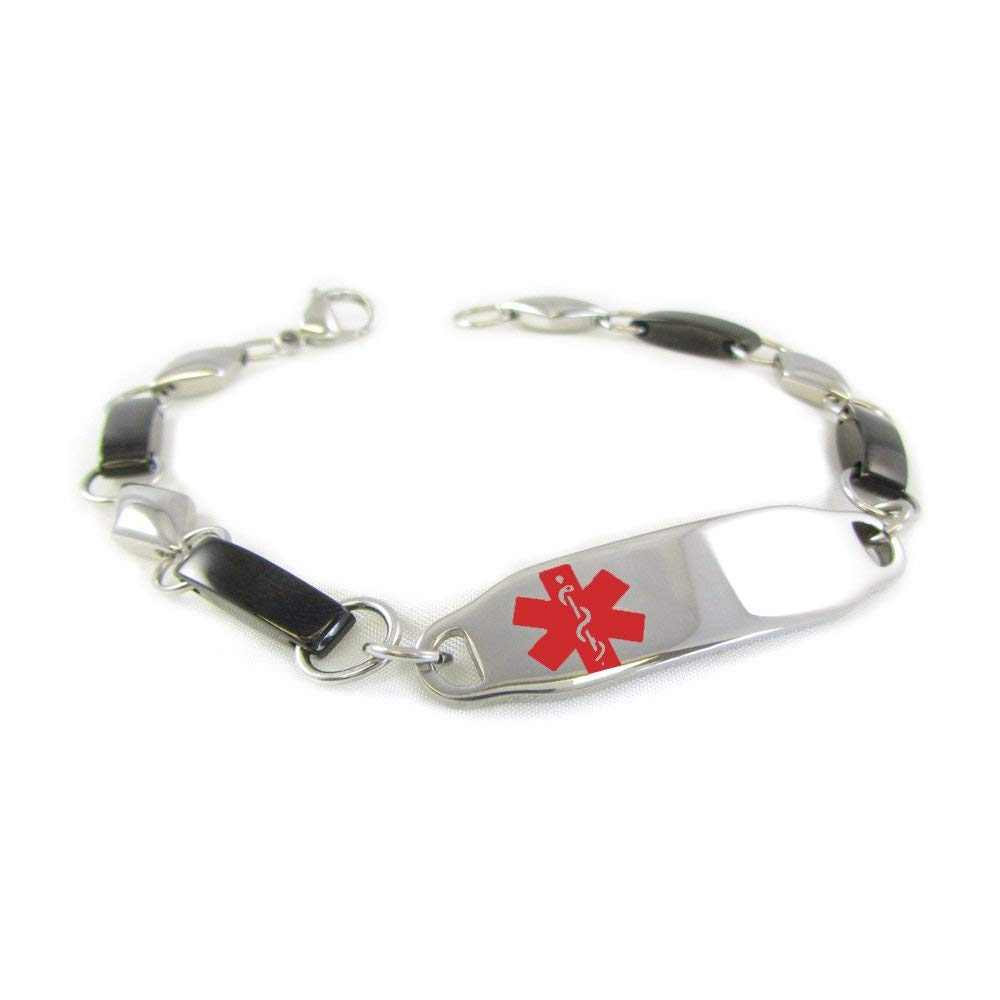 Made in USA My Identity Doctor Pre-Engraved /& Customizable Treenut Allergy Toggle Medical ID Bracelet Red Steel Hearts