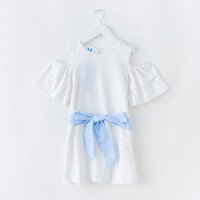 2019 Summer Little Girls Casual Dress Baby Cotton Frock Design Sky Blue Dress Kids Clothes