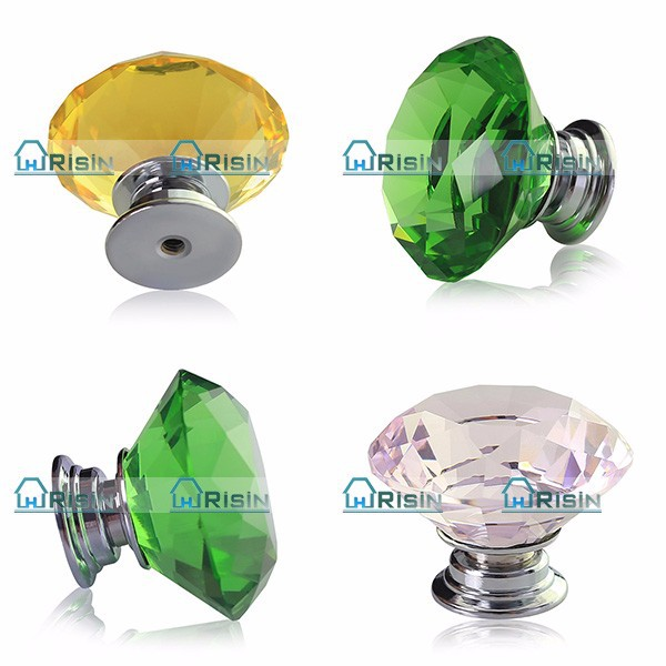 40mm Diamond Clear Crystal Glass Door Knobs Handle