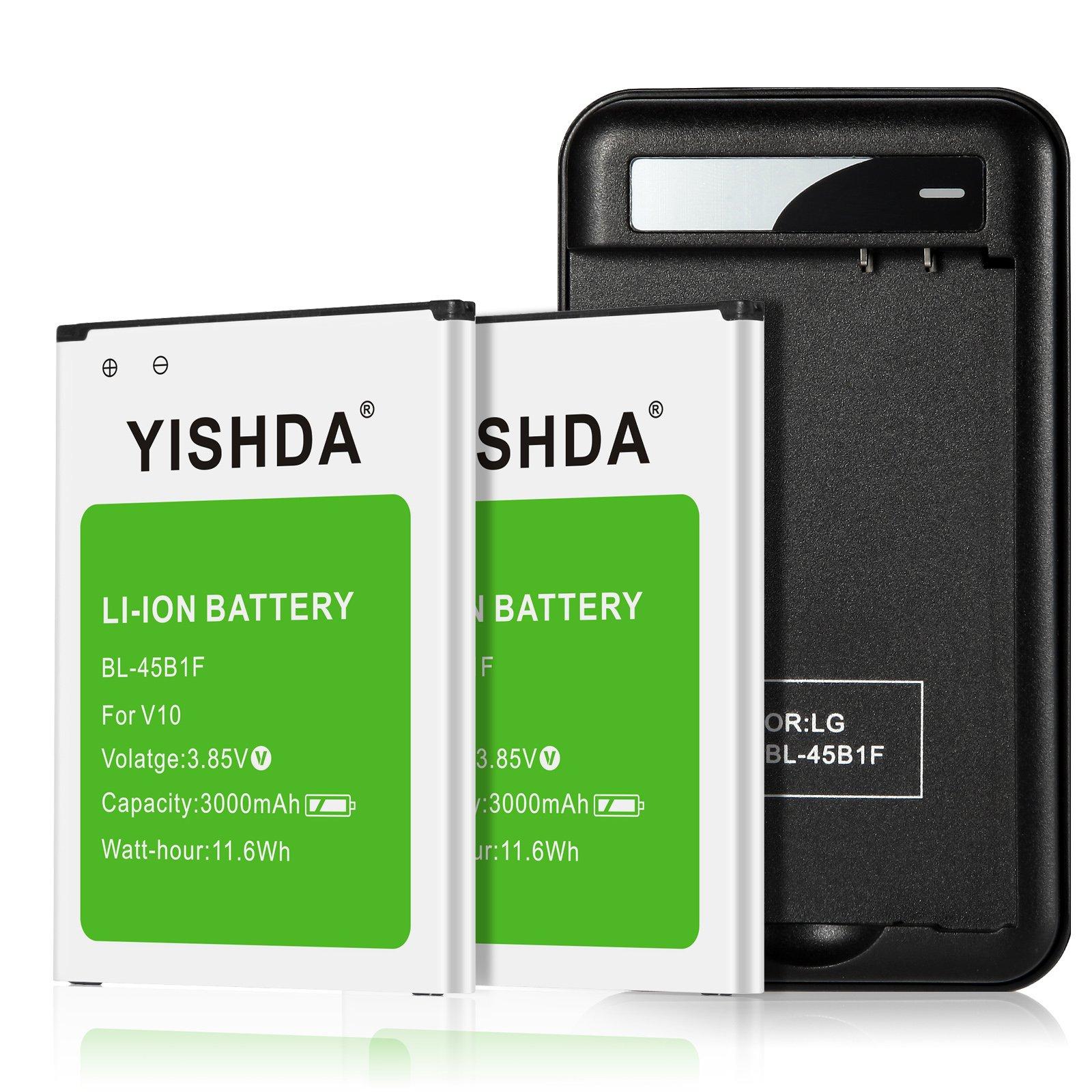 Get Quotations · LG V10 Battery, YISHDA 2 X Li-Ion Phone Batteries for LG  V10 BL