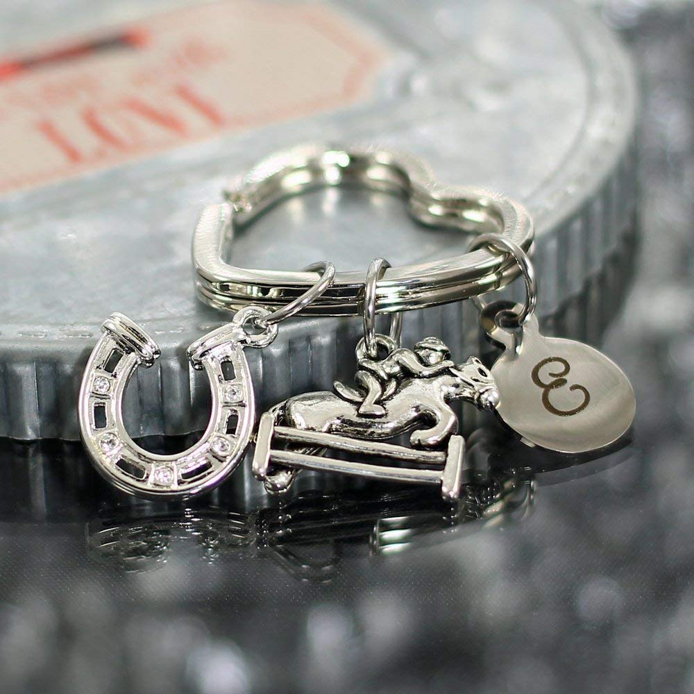 549606f0da Get Quotations · Custom Equestrian Key Chain with Horseshoe, Horse & Rider,  and Initial Charms