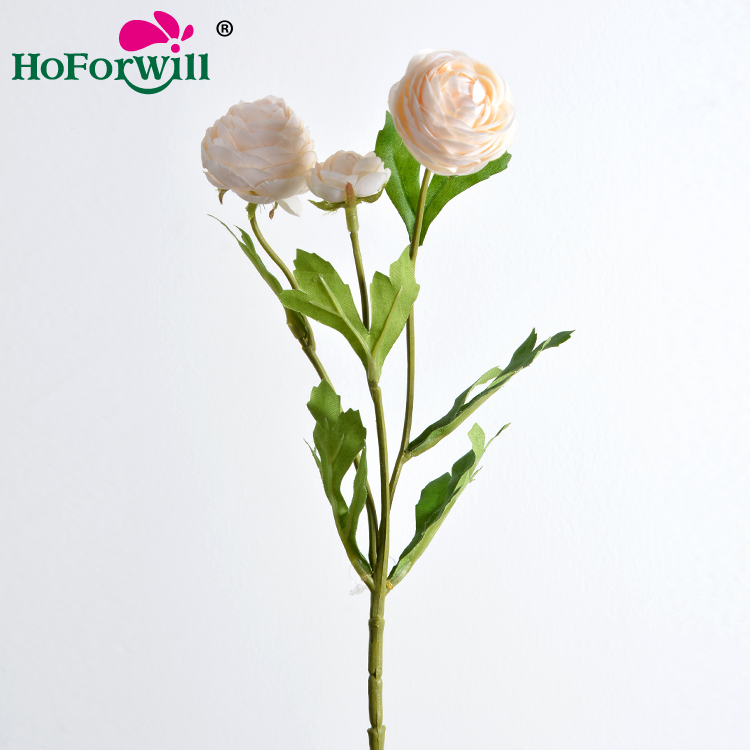 High simulation wholesale factory price silk peach ranunculus artificial plastic silk flowers ranunculus for wedding party decor