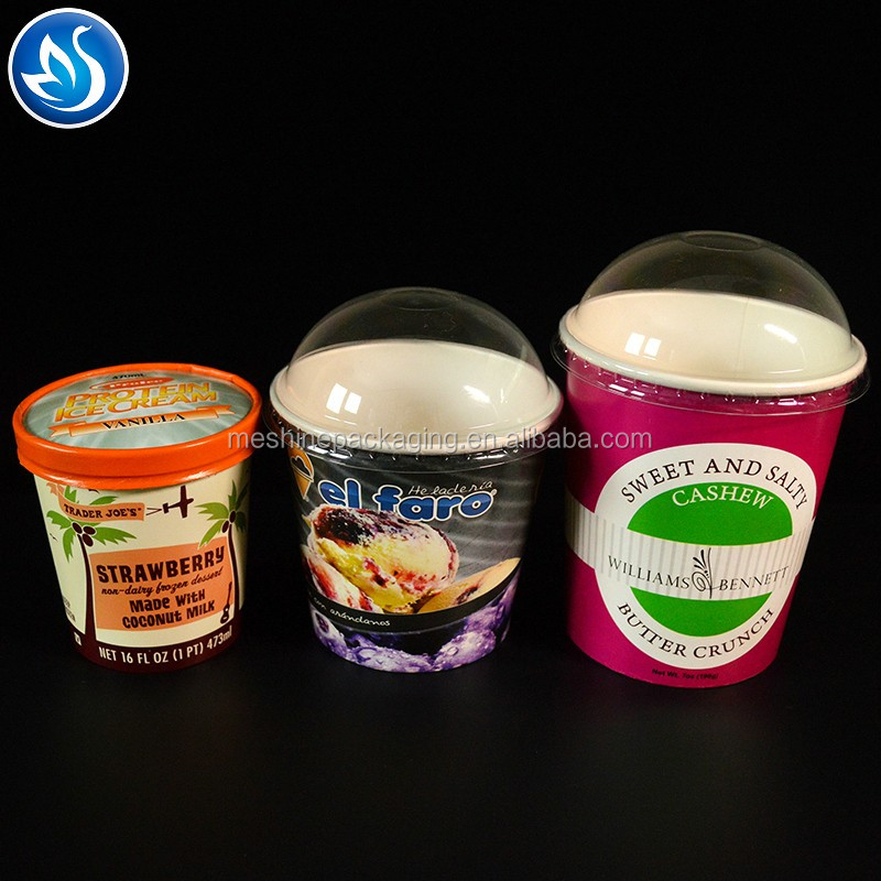 Eco-Friendly Customized Frozen Yogurt Ice Cream Paper Cup With Lid