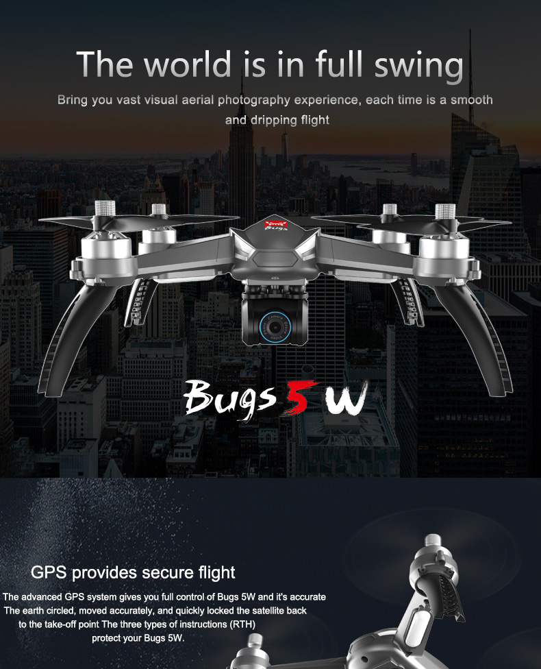 MJX B5W 6-AXIS Gyro drone with gps and camera  1080P HD 5G FPV Wifi  VS free-x professional gps rc quadcopter drone