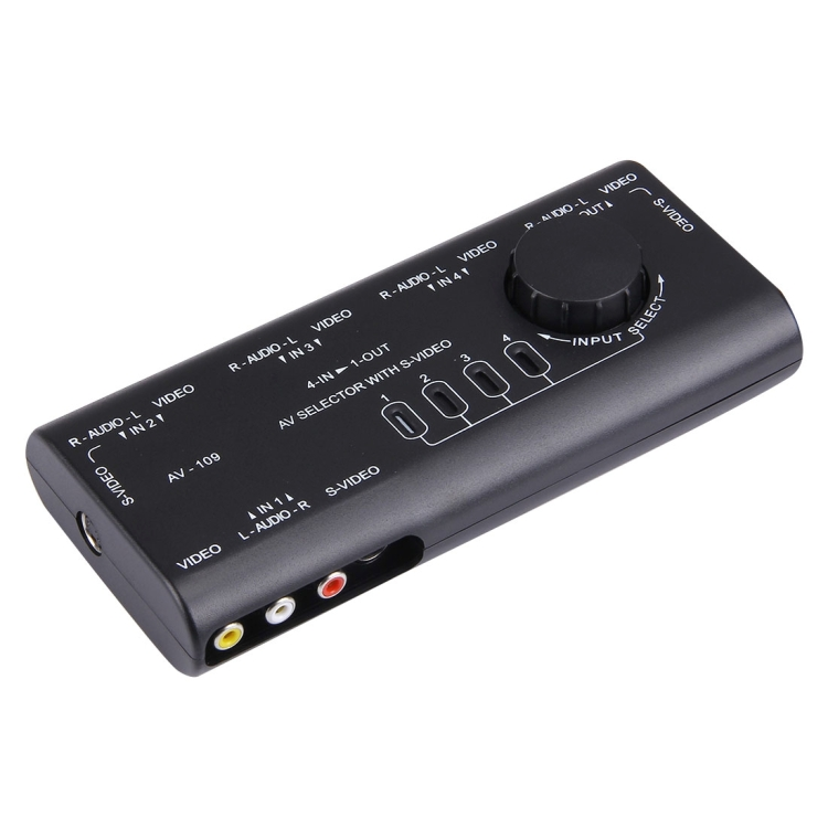 China supplier AV-109 Multi Box RCA AV Audio-Video Signal Switcher + 3 RCA Cable, 4 Group Input and 1 Group Output System