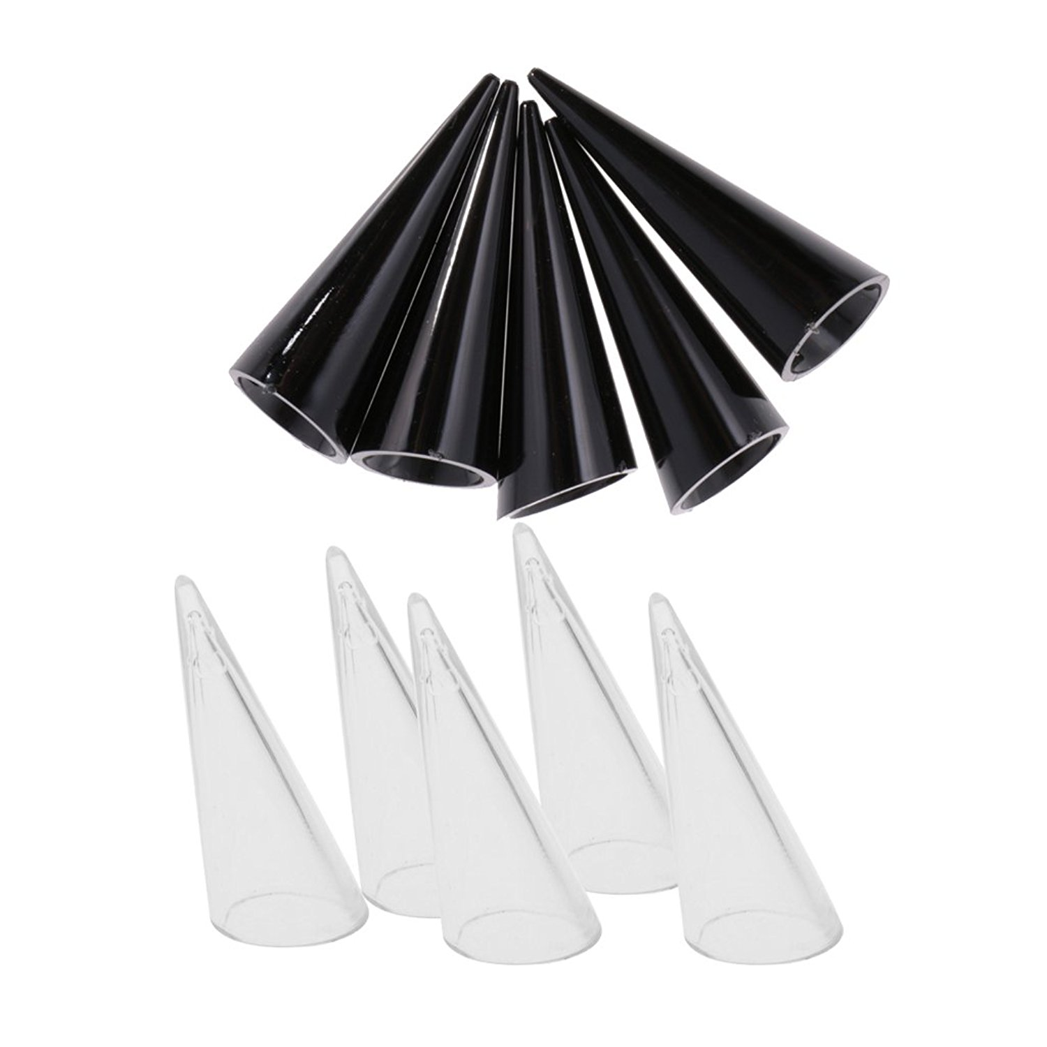Dovewill 10Pcs Black Clear Plastic Jewelry Display Stand Finger Cone Ring Holder Rack