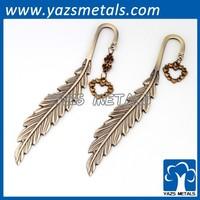 antique brass Feather metal bookmark