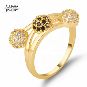 ALMAHA Fashion muslim white gold rings ,18k gold plated black cz stone rings for women jewelry