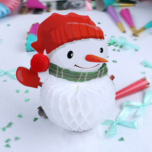 GiveU New 2018 Tissue Honeycomb Paper Snowman Christmas Outdoor Decoration