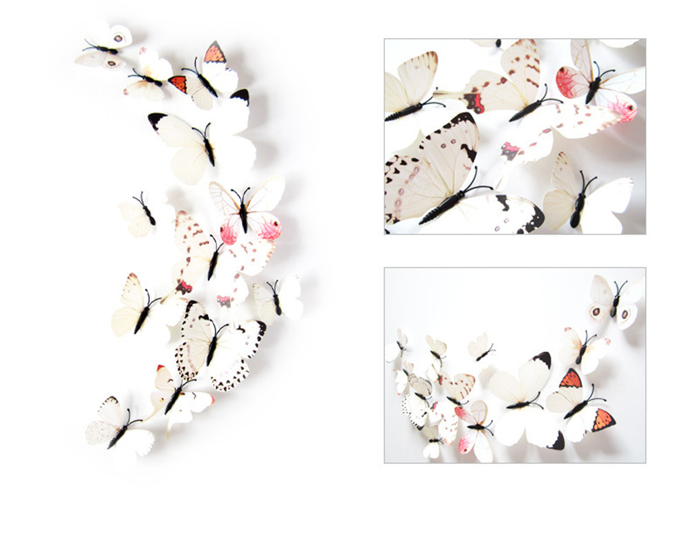 3D Butterfly Wall Sticker Stereo Simulation Butterfly Fashion Beautiful Color Complete Size Mix 12 Pack