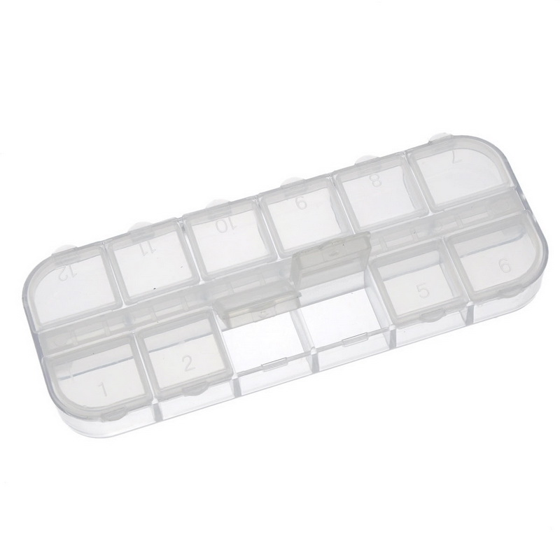Acrylic Empty Beads Box Storage Container Rectangle Transparent 13cm x 5cm x 1.5cm,1pc,(12 Small Compartments),8seasons