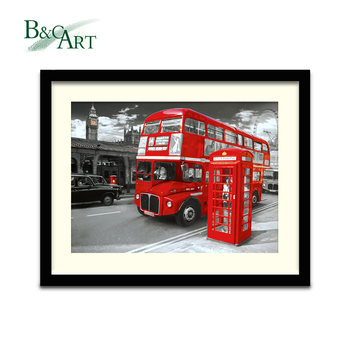 Modern Art Wall Decals London Bus Street View Printed Poster Wall Art with Black Wood Frame