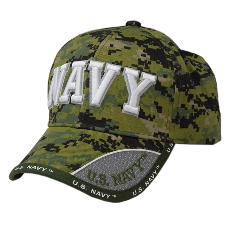 2f79646ecaf Get Quotations · US HONOR TM Embroidered Digital Camo Pixel Navy Text  Baseball Caps Hats