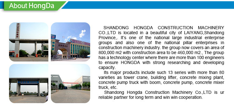 Hongda Model Tower Crane Specification