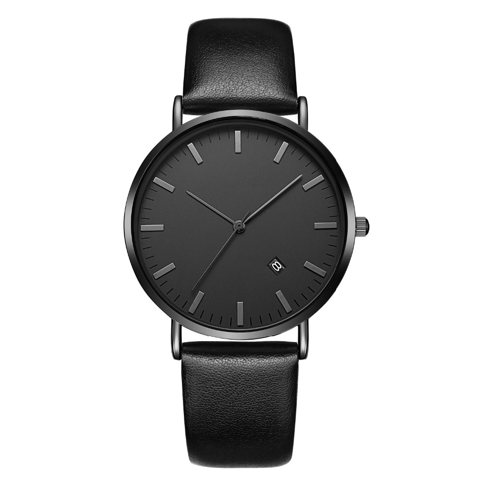 Customized black plating 3atm water resistant the latest design brand watch wristband leather for men