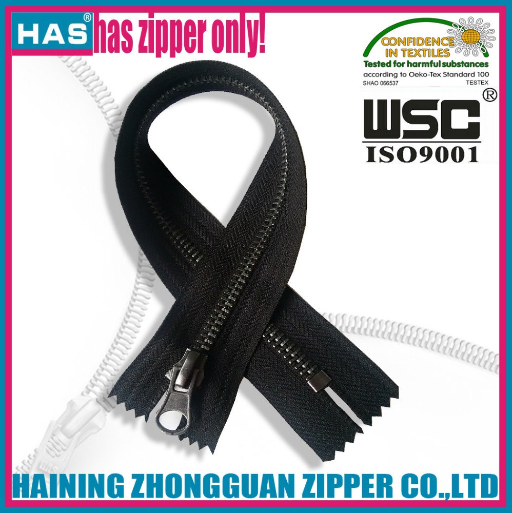 HAS zipper #3 close end gun metal metal zipper parts design new zipper china