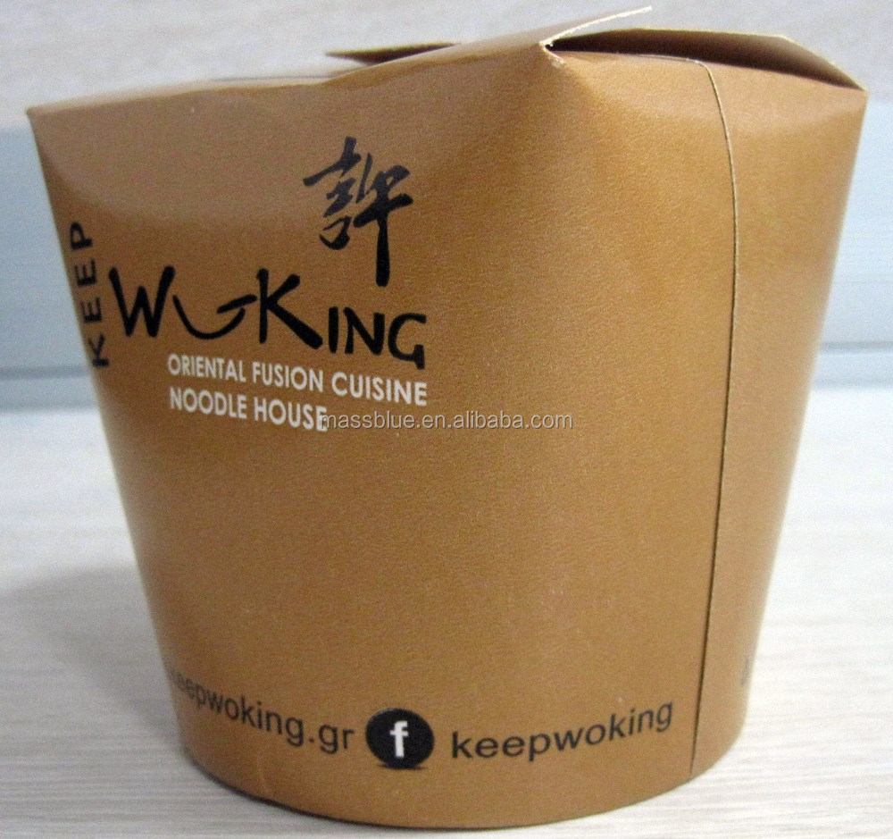 Custom printed take out food box, disposable paper pasta container