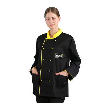 Fashion new design long sleeve black color unisex sushi chef jacket uniform for waiter