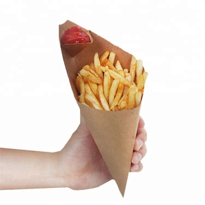 Kraft chip food paper cone box for snack shop