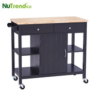 Hot Rubber Wood Top Modern Trolley Mobile Kitchen Cart With Drawers