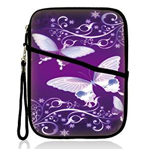 """Neoprene Super Padded Bubble Sleeve Case Cover with Extra Pocket for Accessories & Removable Carrying Handle Fits Apple iPad Mini / Amazon Kindle Fire HD / Google Nexus 7 / Samsung Galaxy / Asus / Acer / Archos and Similar Size 7"""" Tablet - Purple Butterfly Design"""