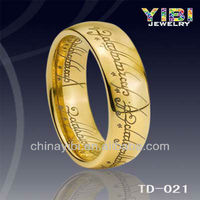 Ring Fashion,Gold Jewelry Tungsten Lord of Ring,Tungsten Mens Ring Gold Plated