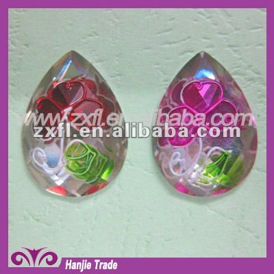 Wholesale 18*25 mm flat back resins wholesale teardrop hand painted flower resin rhinestone cabochons epoxy resin