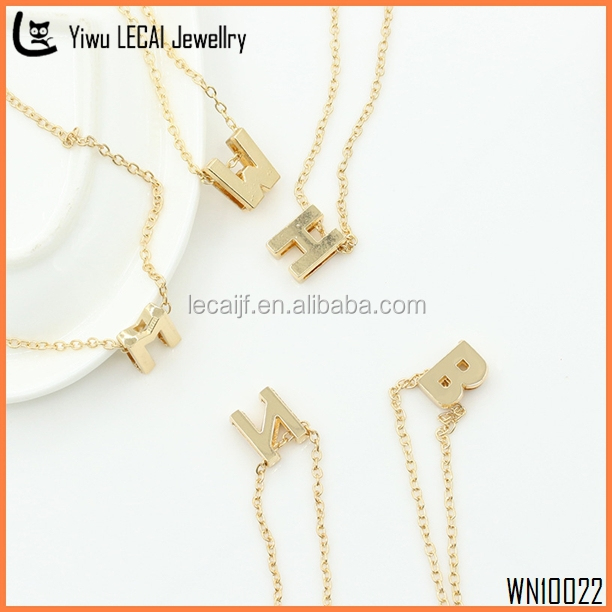 2016 Personalized Initial Necklace , Stainless Steel DIY Letter Necklace , Lower Case Letters Necklace