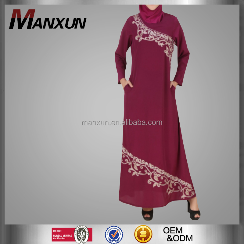 Fashion Red Embroidery Muslim Long Dress Fancy Golden Everning Party Dress Middle East Women Latest Design