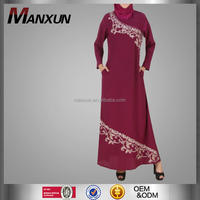 Fashion Red Embroidery Muslim Long Dress Fancy Golden Evening Party Dress Middle East Women Latest Design