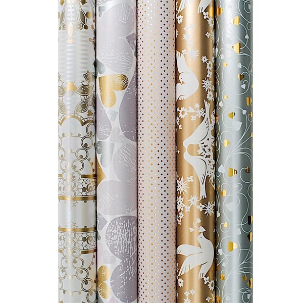 metallic wrapping paper When it comes to gift wrapping our metallic tissue paper is the ideal product to use machine glazed to a high quality finish & sheet size of 500mm x 750mm.