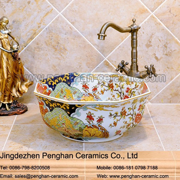Chinese Traditional Antique Garden Hand Wash Basin Ceramic