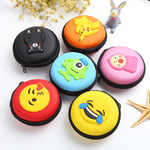 Fashion Mini Storage Organizer Bag Dual Earphone Holder Novelty Super Heroes Silicone Round Circle Coin Purse Key Wallet