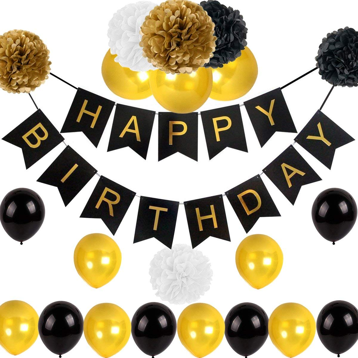 Get Quotations Black And Gold Birthday Party Decorations With Happy Banner Pom Balloons For 18th