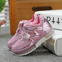 2016 Autumn children leather shoes sport shoes kids light shoes LED shoes for boys running shoes