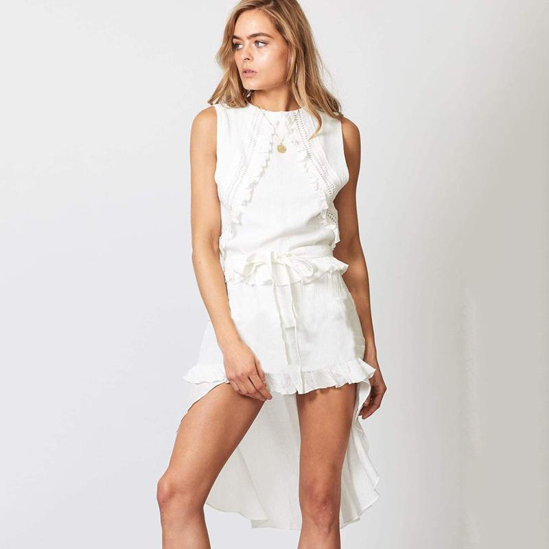 46ed85046ed Chaude 2019 Été mode casual robe en dentelle à volants irrégulière femme  plus la taille robe