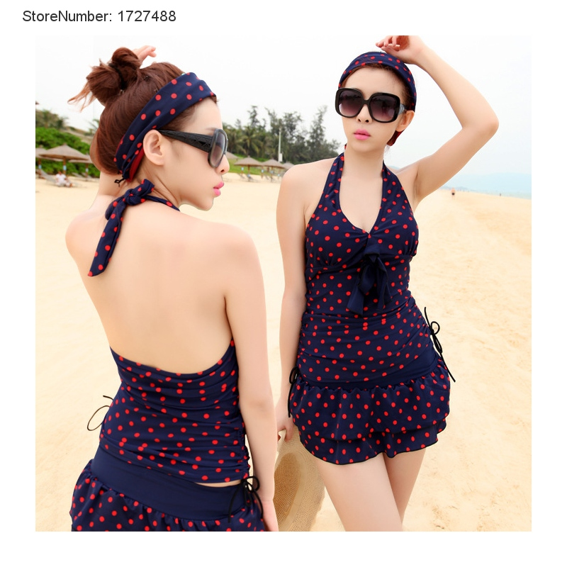 d96acf74ef New Factory Direct Tankini Swimsuits Women Conservative Waist Beach Swimwear  Summer Cute Dots Print Sports Swimsuit