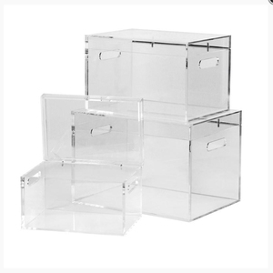 Contemporary Designed Clear Acrylic Storage Trunks, Customized Acrylic Containing Boxes