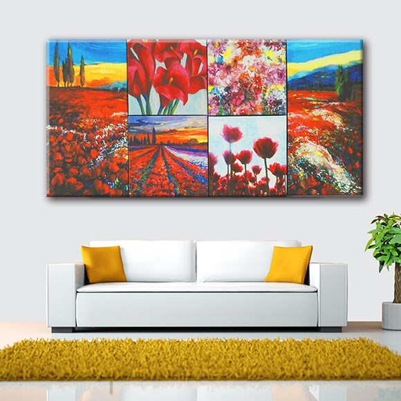 Colorful Flowers Natural Scenery Wall Picture Wooden Frame 6pcs ...