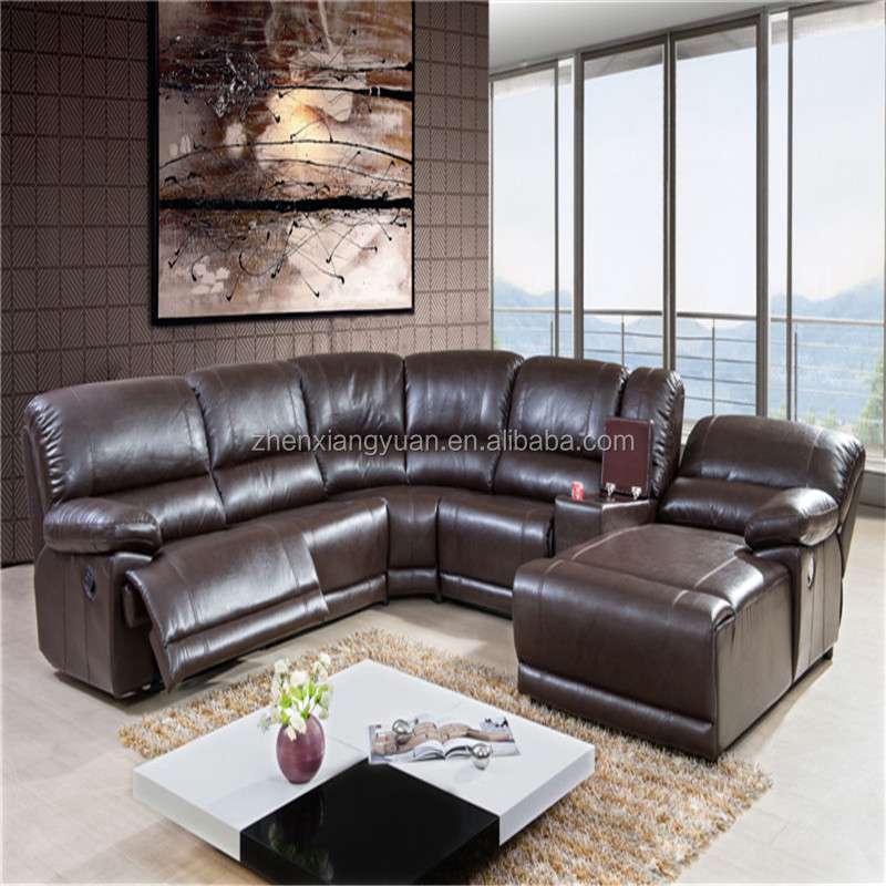 Modern Genuine Leather Sectional U Shaped Sofa