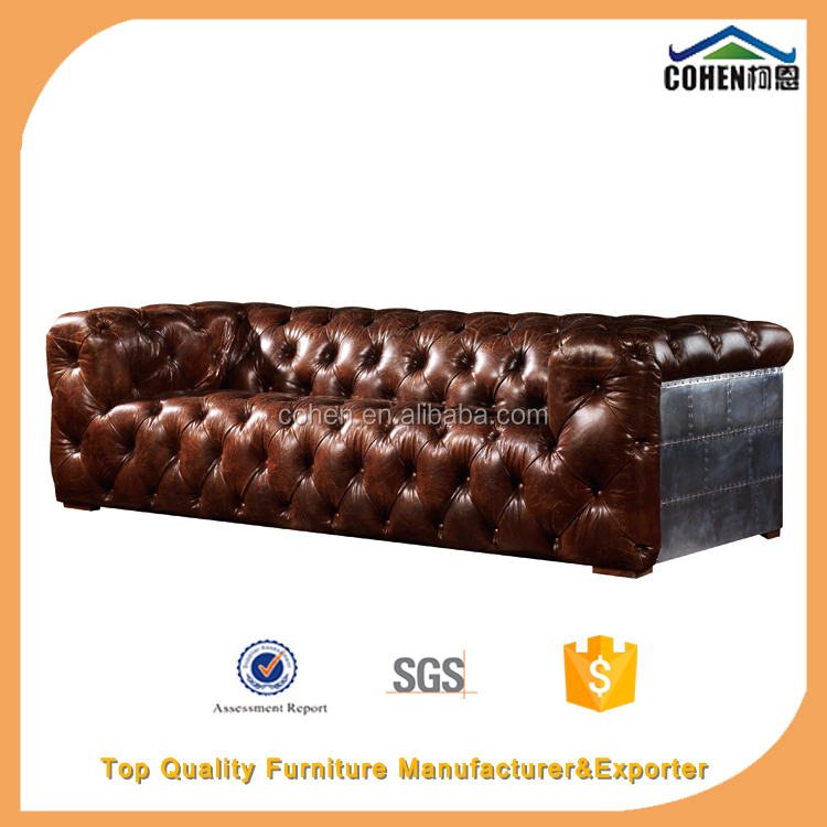 Foshan hot sale European and American retro Vintage Oiled Wax Leather Aluminum Sheet Sofa