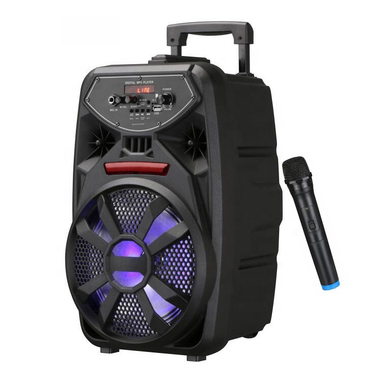 8inch Professional Smart Powered Portable Outdoor Subwoofer Wireless Trolley <strong>Speaker</strong> With Mic For Christmas Celebration