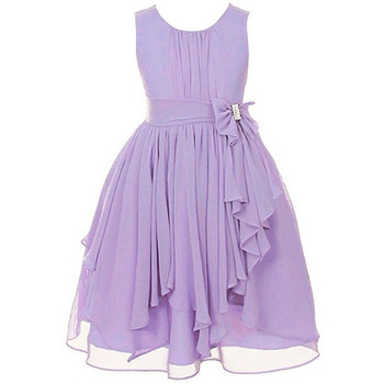 Korean Chiffon Purple Flower Party Dresses For S 12 Years Old