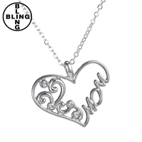 >>>5pcs 50cm silver crystal heart mom necklace for Mother's Day gift women jewelry 2017 fasion necklace