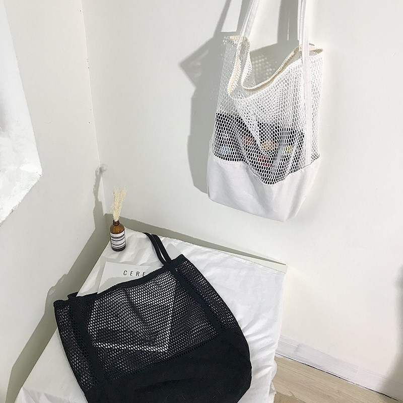 2019 China Supplier Hole Summer Gridding Beach Mesh Bag Women Shopping Handbag