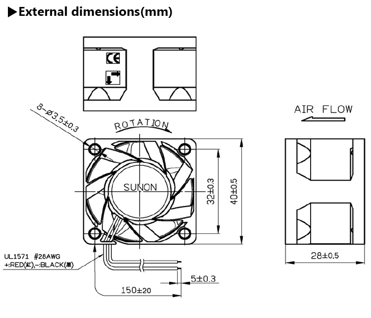 40mm fan dimensions