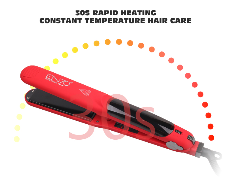 ENZO Wholesale professional flat iron electric LCD display straightening salon red shine moisture steam jet hair straightener